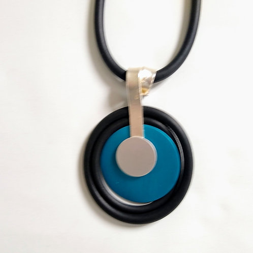 Long Rubber, Blue Alloy and Silver Necklace