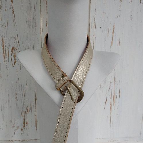 Brushed Gold Leather Belt