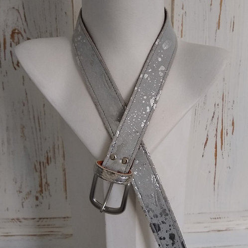 Silver & Grey Mix Leather Suede Belt
