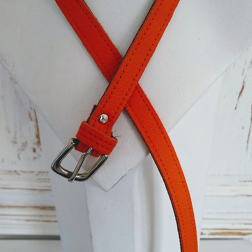 Plain Orange Narrow Leather Belt
