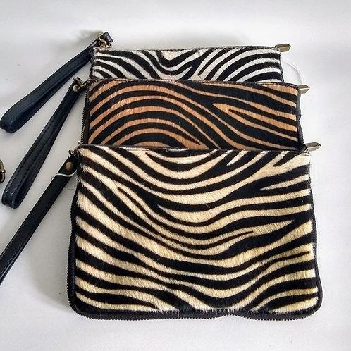 Leather Pony Effect Clutch Bag