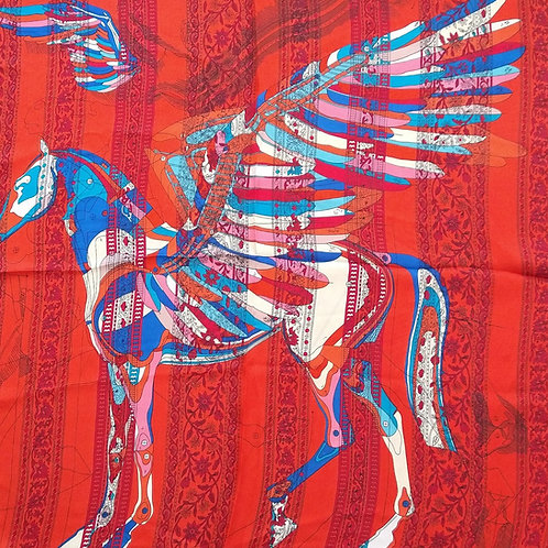 Silk Feel Winged Horse Red Square Scarf