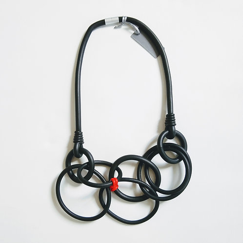 Rubber Circle with Red Necklace
