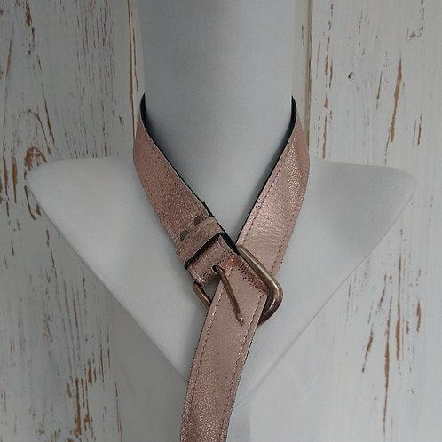 Metallic Pink Leather Belt