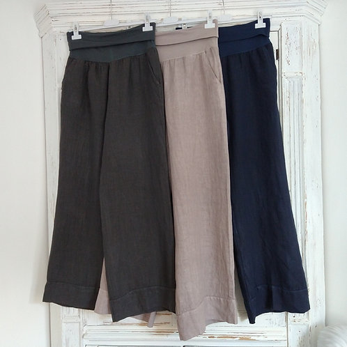 Stretch Jersey Top Long Linen Trousers