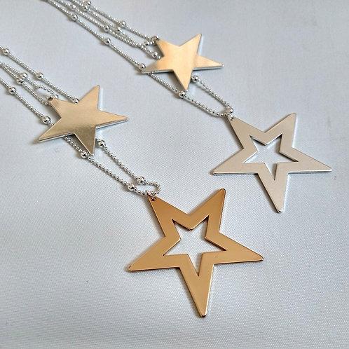 Double Drop Long Star Necklace
