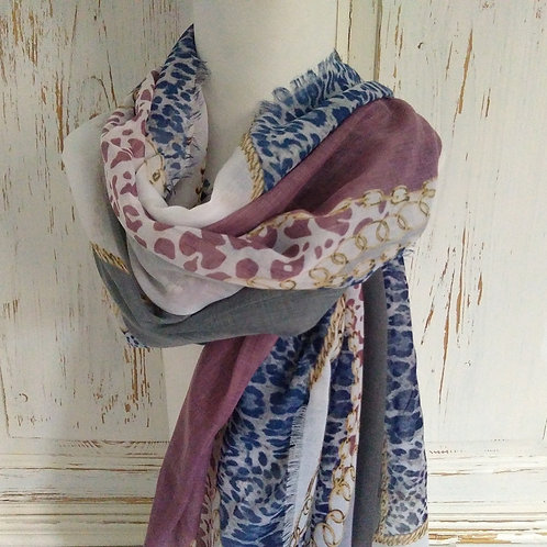 Envy Lilac, and purple and animal print Scarf