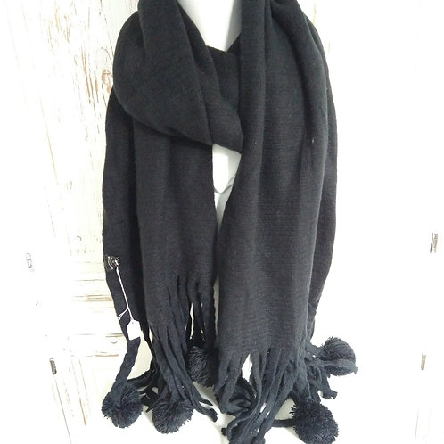 Long Black Super Soft Scarf with Tassels