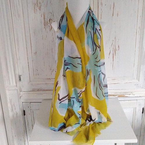 Mustard and Blue Iris Print Scarf
