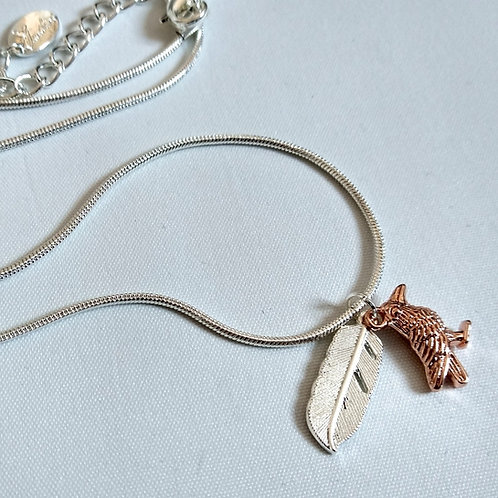 Bird & Feather Short Necklace