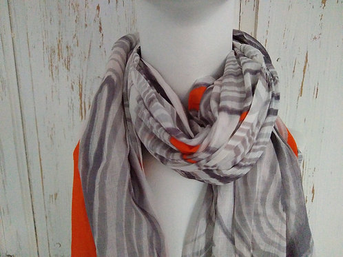 Orange and Red with Grey 100% Cotton Scarf
