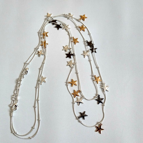 Long Double Mixed Mini Star Necklace