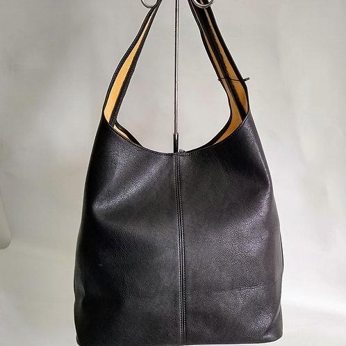 Black PU Slouch Bag