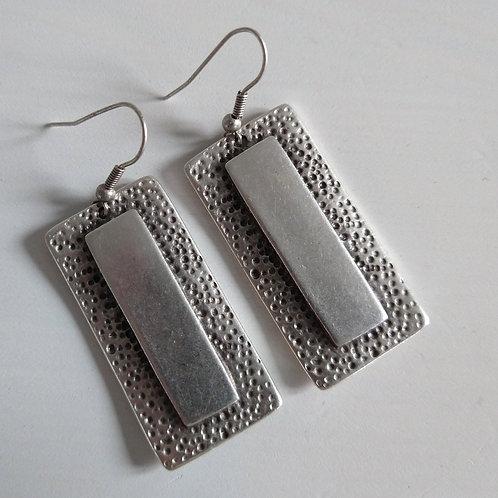 Hatti Mottled Panel Metal Earrings