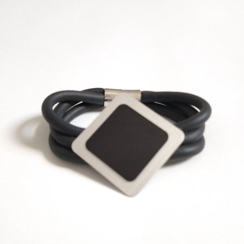 Black Rubber and Silver Alloy Bracelet