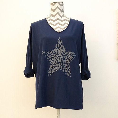 Printed Animal Star Cotton Casual Top