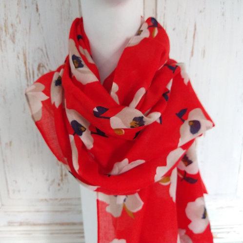 Red & White Poppy Scarf