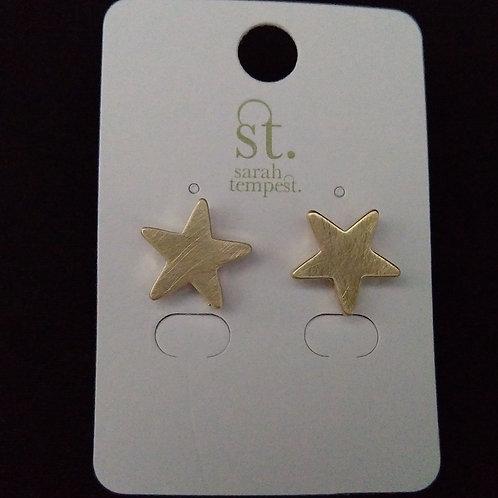 Scratched Metal Star Stud Earrings