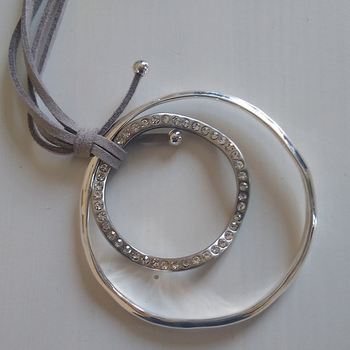 Double Ring Sparkle long Necklace