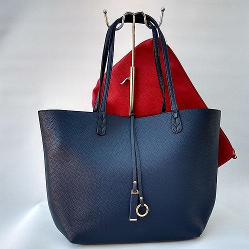 Navy Tote PU 2 bag Shopper