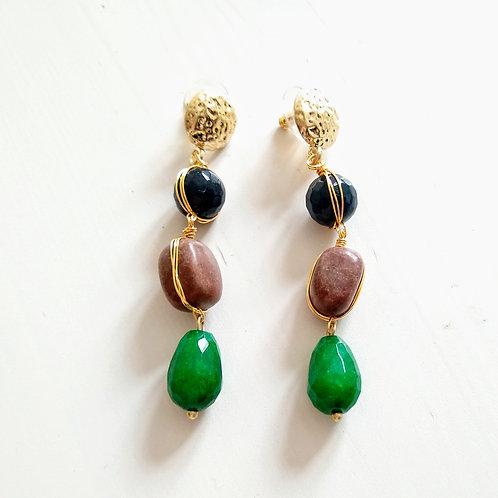 Ottoman Style Gem Drop Earrings