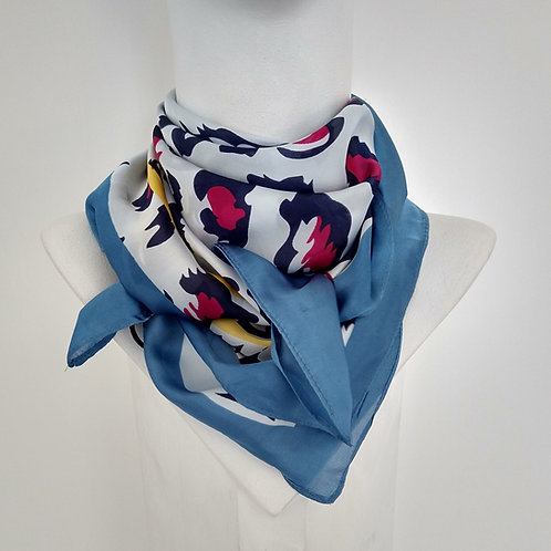 Satin Feel Small Square Blue Print Scarf