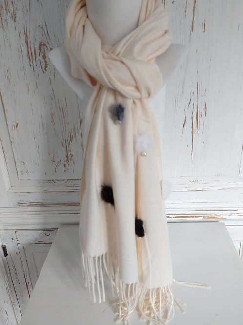 Cream Soft Scarf with Fur and Pearls