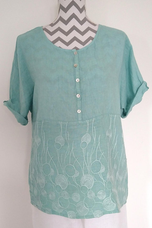 Linen Tops with Embroidery and Buttons