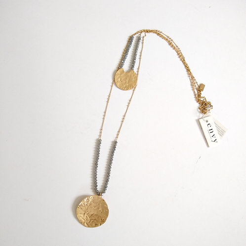 Double Layer Gold Disc Bead Necklace