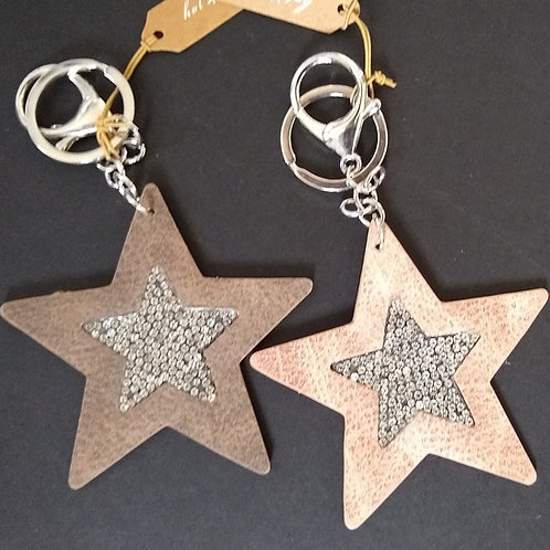 Flat Sparkle Star Key Ring Charm