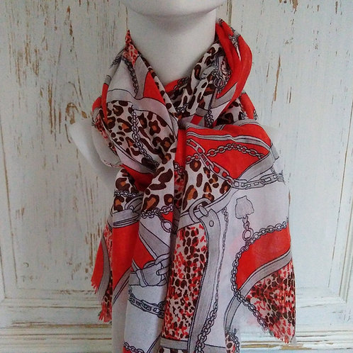 Red and White Chain and Animal Print Scarf