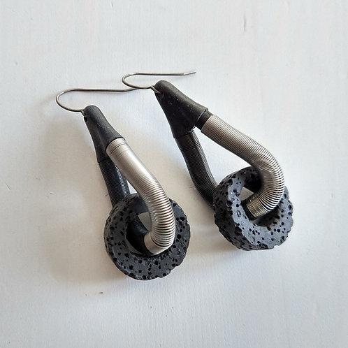 Industrial Jewellery Springs and Rocks Earrings