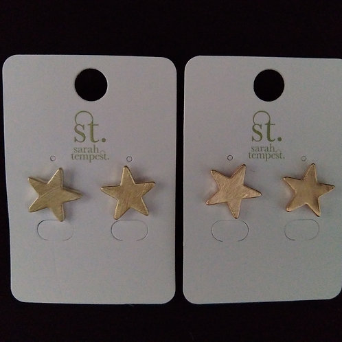 Brushed Metal Star Stud Earrings