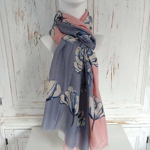 Pink & Grey Poppy Print Scarf