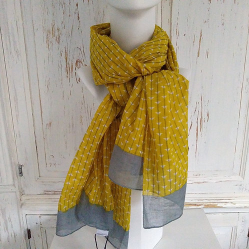 Mustard and Grey 100% Cotton Scarf