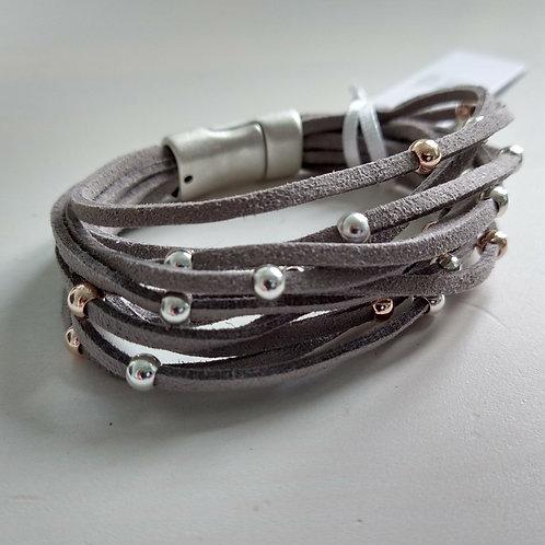 Multi Strand Suede Bracelet with Metal Balls