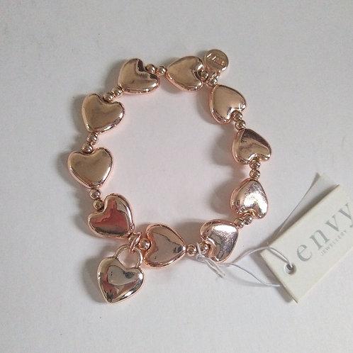Rose Gold Heart Charm Bracelet