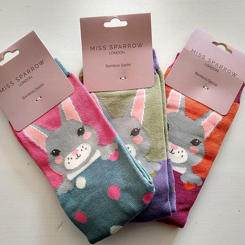 Miss Sparrow Cheeky Rabbit Socks