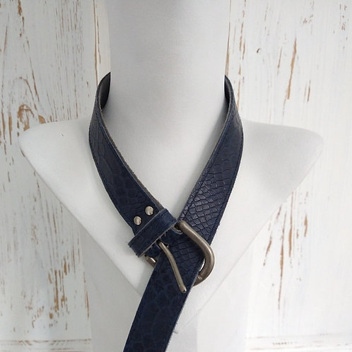 Navy Textured Leather Belt