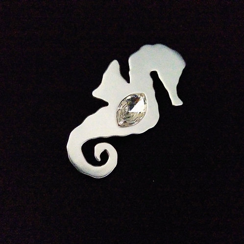 Seahorse with Stone Brooch