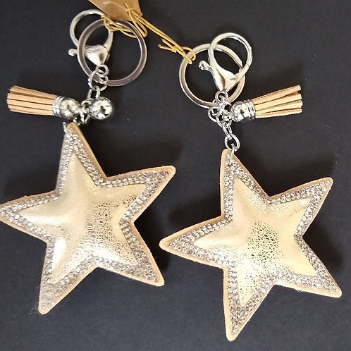 Padded Glitzy Star Key Ring Charm