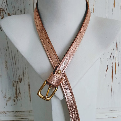 Metallic Rose Narrow Leather Belt