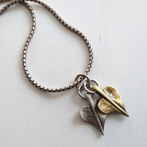Danon Double Clover Heart Short Necklace