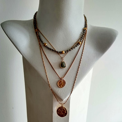 Multi Strand Short Necklace with Charms