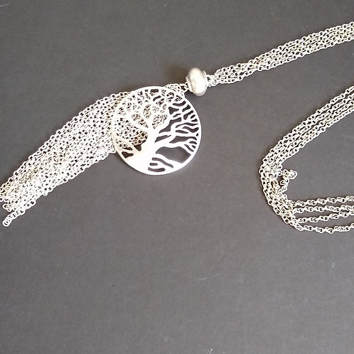 Hatti Long Metal Tree of Life Necklace