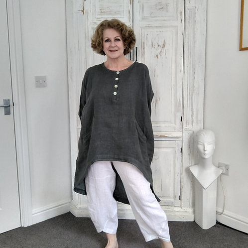 Heather High Low Linen Top with Pockets