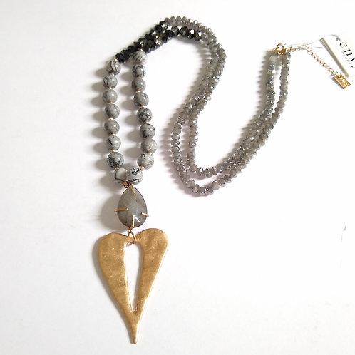 Marbled Green Beads with Gold Heart