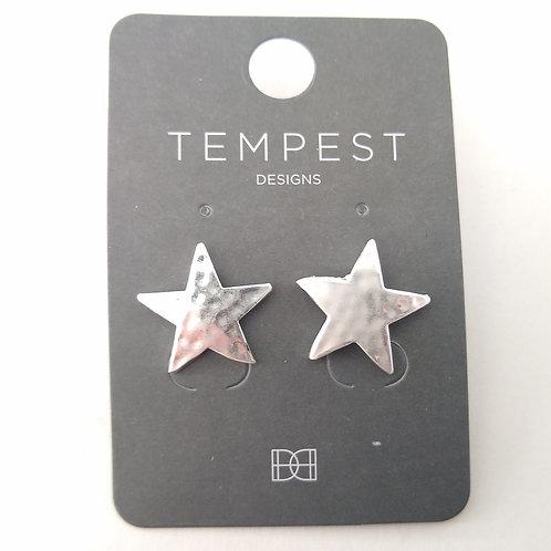 Soft Hammered Star Earrings