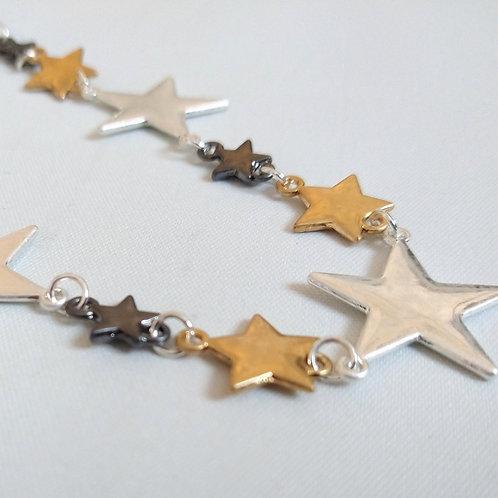 Short Mix Colour Metal Stars Necklace