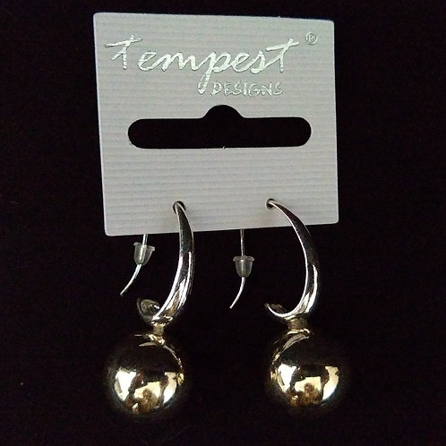 Silver Hook with Gold Ball Earrings